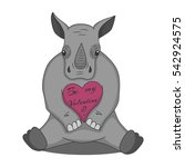 vector drawing of a rhino with... | Shutterstock .eps vector #542924575
