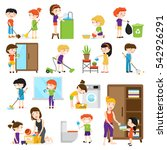colorful cartoon set with kids... | Shutterstock .eps vector #542926291