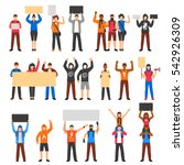 cheering protesting crowd... | Shutterstock .eps vector #542926309