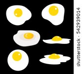 Set Of Fried Eggs. Vector...