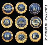 luxury golden retro badges... | Shutterstock .eps vector #542939845