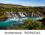 hraunfossar series of... | Shutterstock . vector #542942161