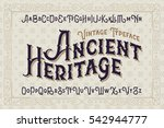 Stock vector vintage vector font elegant royal typeface in medieval ancient style 542944777