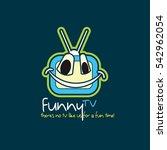 funny tv logo design template.... | Shutterstock .eps vector #542962054