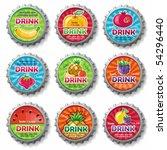 fruity bottle caps 3   vector... | Shutterstock .eps vector #54296440