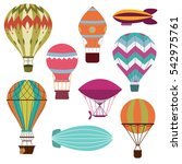 retro hot air balloons set for... | Shutterstock .eps vector #542975761