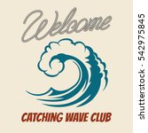 surfing club emblem with killer ... | Shutterstock .eps vector #542975845