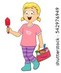 illustration of a little girl... | Shutterstock .eps vector #542976949