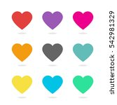 colorful heart icon vector set | Shutterstock .eps vector #542981329
