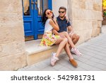 young beautiful hipster couple... | Shutterstock . vector #542981731