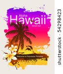 tropical background. aloha... | Shutterstock .eps vector #54298423