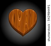 funny cartoon wooden heart on...