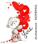 cute teddy bear. love you card. ... | Shutterstock . vector #542989441