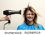 fun girl hair dry.  | Shutterstock . vector #542989519