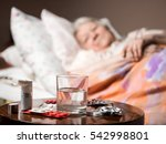 sick old woman lying in bed at... | Shutterstock . vector #542998801