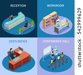 modern workplace 4 icons square ... | Shutterstock . vector #542999629