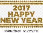 2017 happy new year golden... | Shutterstock .eps vector #542999641