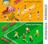 football and volleyball teams... | Shutterstock . vector #543000625