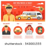 Taxi Service Infographics With...