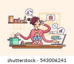 busy mother with baby | Shutterstock .eps vector #543006241