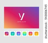 v shadow  letter logo. gold... | Shutterstock .eps vector #543006745