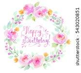 watercolor floral wreath in... | Shutterstock . vector #543020851
