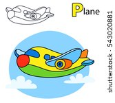 plane. coloring book page.... | Shutterstock .eps vector #543020881