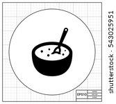 porridge bowl with spoon | Shutterstock .eps vector #543025951