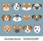 vector set with cute cartoon... | Shutterstock .eps vector #543033289