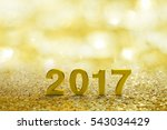 gold 2017 text on gold bokeh... | Shutterstock . vector #543034429