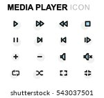 vector flat media player icons... | Shutterstock .eps vector #543037501