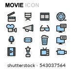 vector flat movie icons set on... | Shutterstock .eps vector #543037564