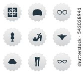 set of 9 simple dress icons....