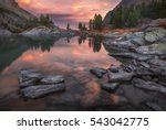 mountain lake sunset coast with ... | Shutterstock . vector #543042775