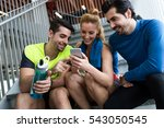 portrait of group of sporty... | Shutterstock . vector #543050545