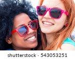 2 girls  best friends smiling... | Shutterstock . vector #543053251