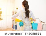young woman preparing to clean... | Shutterstock . vector #543058591