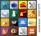 kitchenware dishes icons set.... | Shutterstock .eps vector #543071575