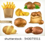 potato and fry chips. vegetable ... | Shutterstock .eps vector #543075511