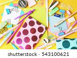 colorful stationery  closeup | Shutterstock . vector #543100621