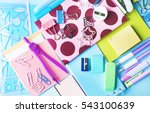 colorful stationery  closeup | Shutterstock . vector #543100639