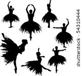 classical ballerina silhouettes | Shutterstock .eps vector #54310444