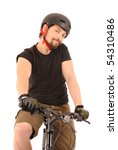Portrait of the bicyclist isolated on white, studio shot. - stock photo