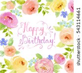 watercolor floral frame border... | Shutterstock . vector #543114661