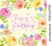 painted watercolor floral frame ... | Shutterstock . vector #543114709