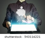 Small photo of Image of a girl with a tablet in hands. She touches money box icon. Concept accumulation, storage of funds, internet for banking, finance, trading.