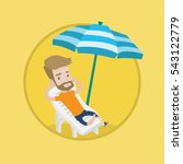 hipster man sitting in a chaise ... | Shutterstock .eps vector #543122779