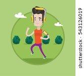 man running with earphones and... | Shutterstock .eps vector #543126019