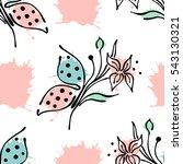 vector seamless floral pattern... | Shutterstock .eps vector #543130321