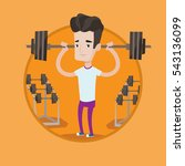 sporty man lifting a heavy... | Shutterstock .eps vector #543136099